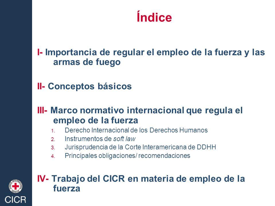 Índice I- Importancia de regular el empleo de la fuerza y las armas de fuego. II- Conceptos básicos.