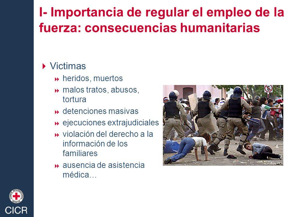I- Importancia de regular el empleo de la fuerza: consecuencias humanitarias