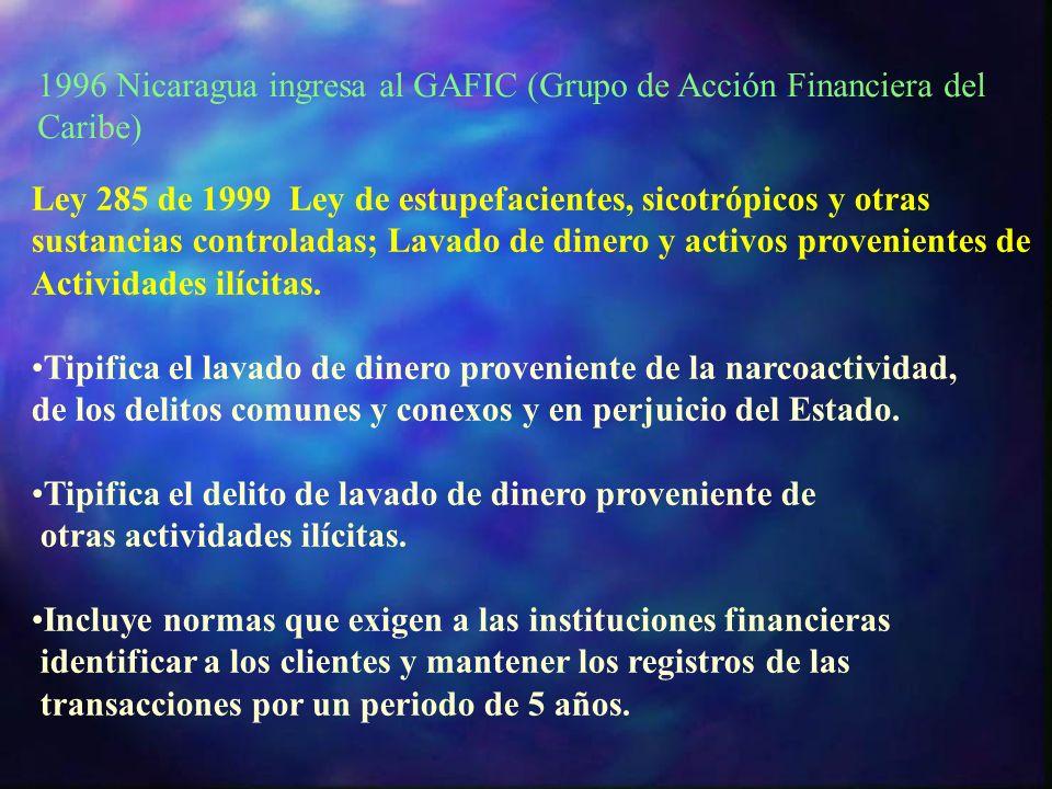 1996 Nicaragua ingresa al GAFIC (Grupo de Acción Financiera del