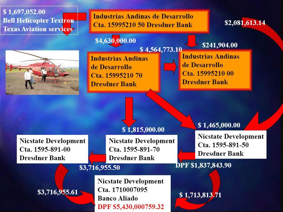 $ 1,697,052.00Bell Helicopter Textron. Texas Aviation services. Industrias Andinas de Desarrollo. Cta. 15995210 50 Dresdner Bank.