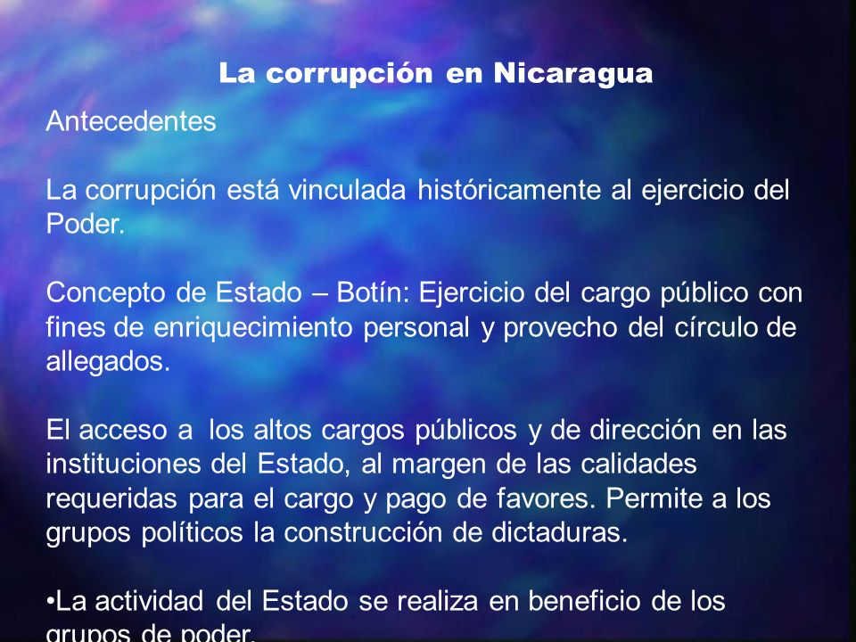 La corrupción en Nicaragua