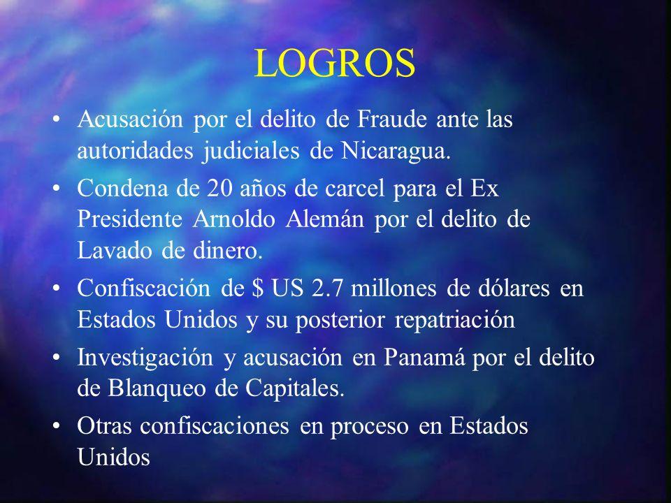 LOGROS Acusación por el delito de Fraude ante las autoridades judiciales de Nicaragua.