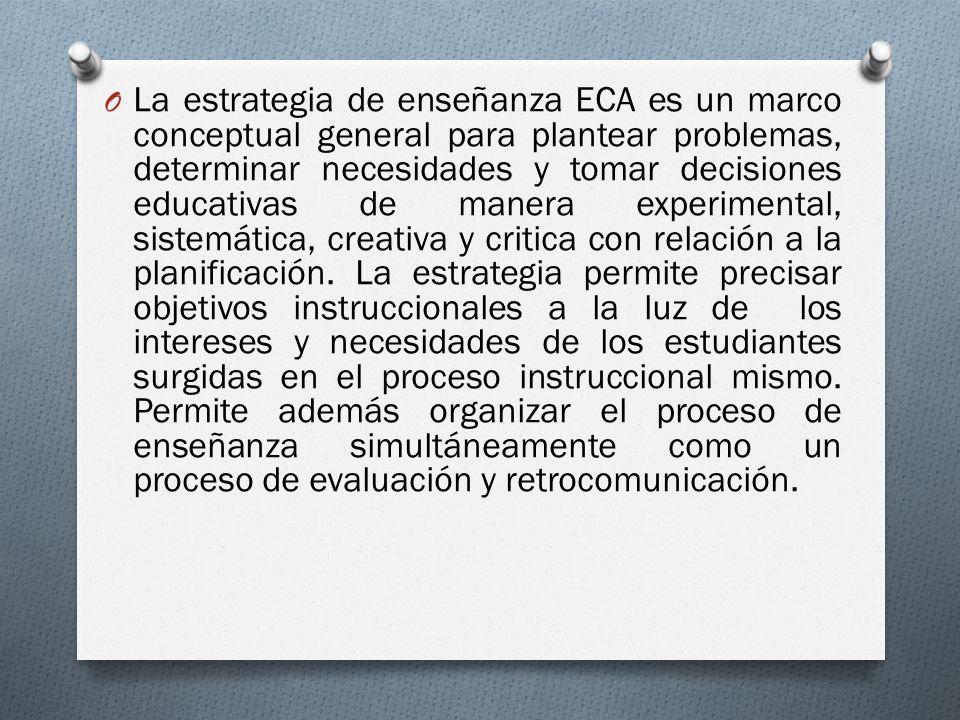 La estrategia de enseñanza ECA es un marco conceptual general para plantear problemas, determinar necesidades y tomar decisiones educativas de manera experimental, sistemática, creativa y critica con relación a la planificación.