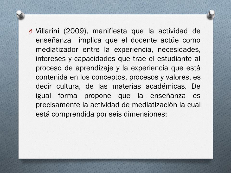 Villarini (2009), manifiesta que la actividad de enseñanza implica que el docente actúe como mediatizador entre la experiencia, necesidades, intereses y capacidades que trae el estudiante al proceso de aprendizaje y la experiencia que está contenida en los conceptos, procesos y valores, es decir cultura, de las materias académicas.