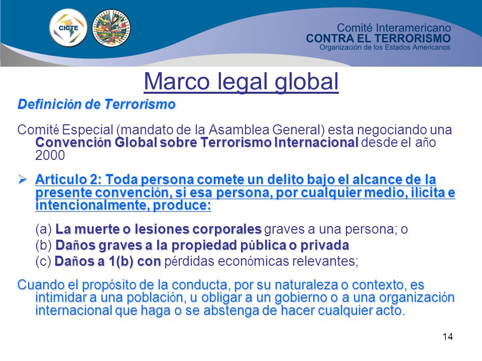 Marco legal global Definición de Terrorismo
