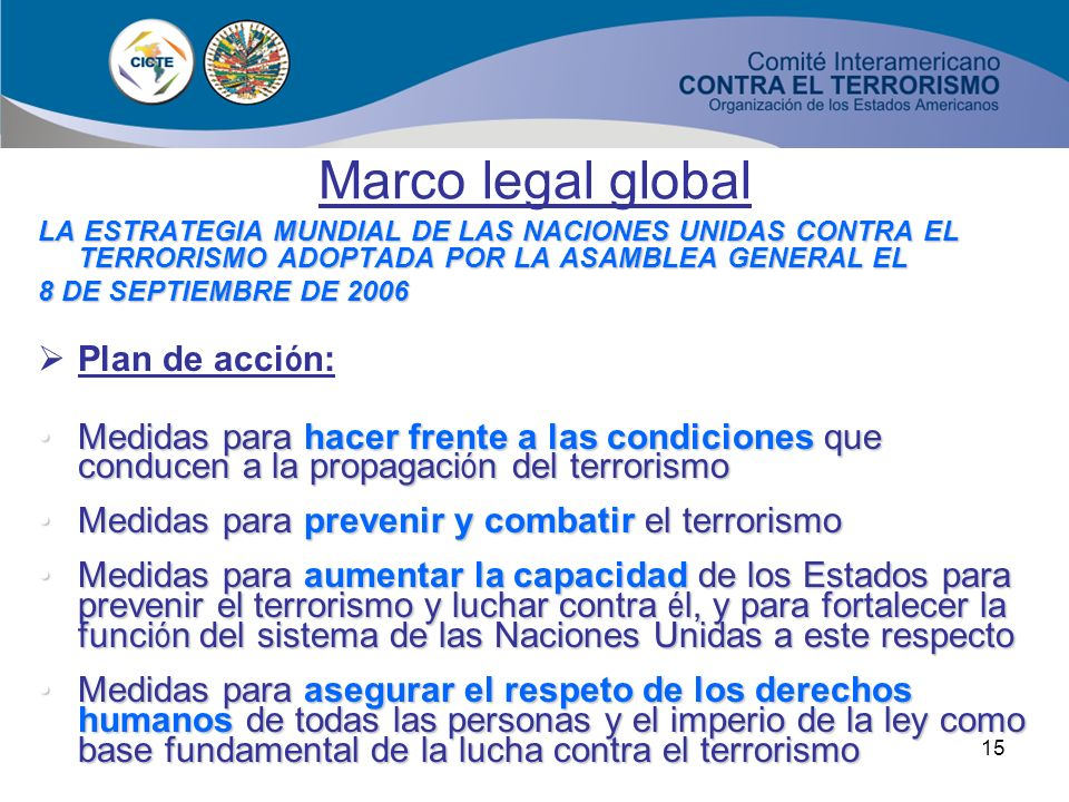 Marco legal global Plan de acción: