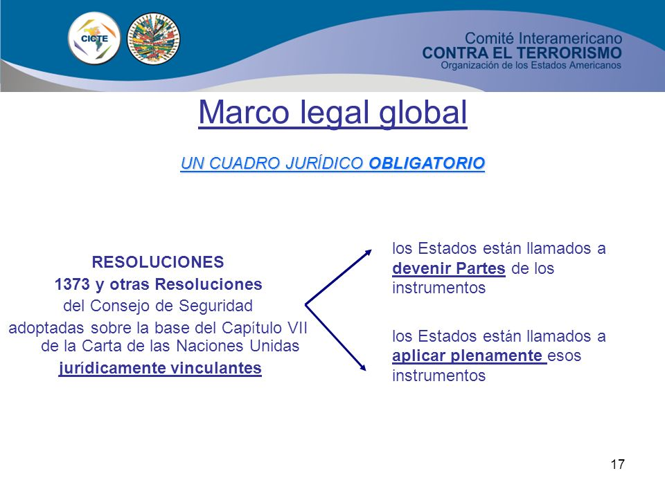 Marco legal global UN CUADRO JURÍDICO OBLIGATORIO