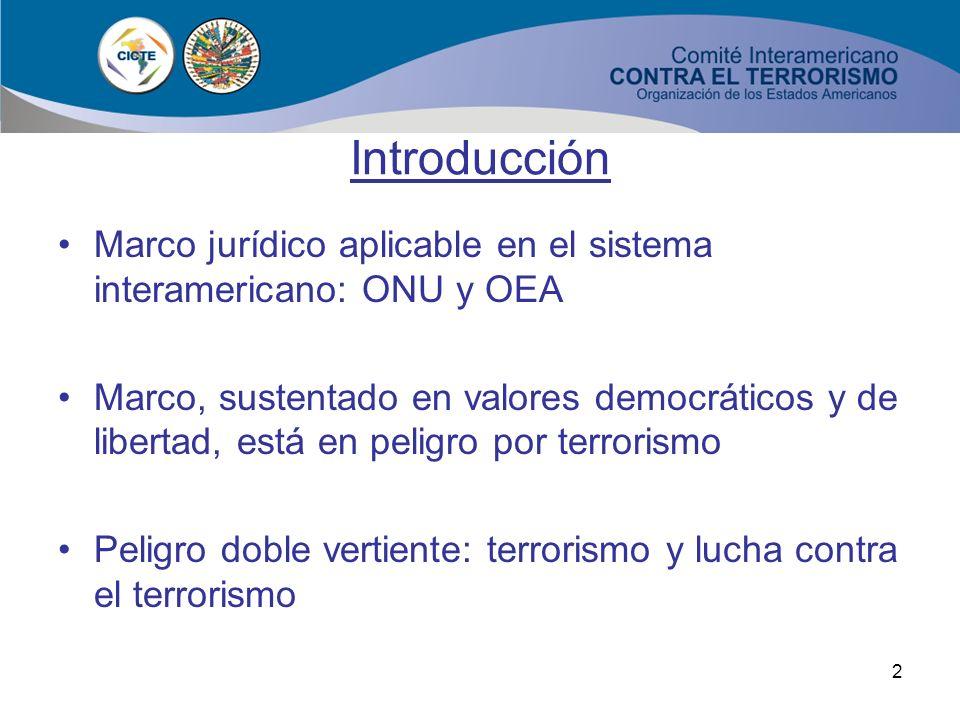Introducción Marco jurídico aplicable en el sistema interamericano: ONU y OEA.