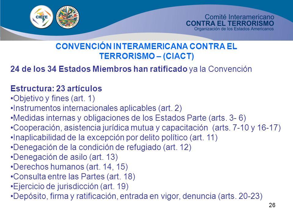 CONVENCIÓN INTERAMERICANA CONTRA EL TERRORISMO – (CIACT)