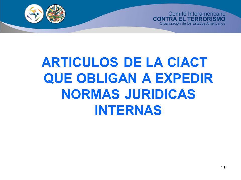 ARTICULOS DE LA CIACT QUE OBLIGAN A EXPEDIR NORMAS JURIDICAS INTERNAS