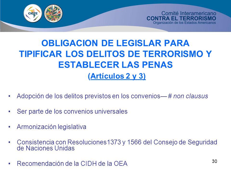 OBLIGACION DE LEGISLAR PARA OBLIGACION DE LEGISLAR PARA TIPIFICAR LOS DELITOS DE TERRORISMO Y ESTABLECER LAS PENAS (Artículos 2 y 3)