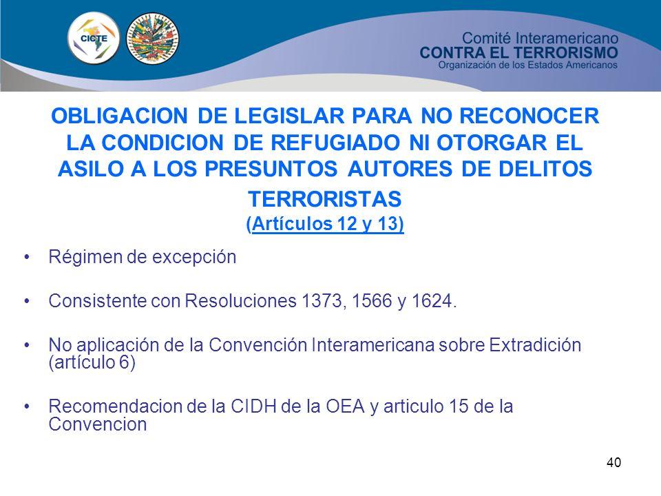 OBLIGACION DE LEGISLAR PARA NO RECONOCER LA CONDICION DE REFUGIADO NI OTORGAR EL ASILO A LOS PRESUNTOS AUTORES DE DELITOS TERRORISTAS (Artículos 12 y 13)
