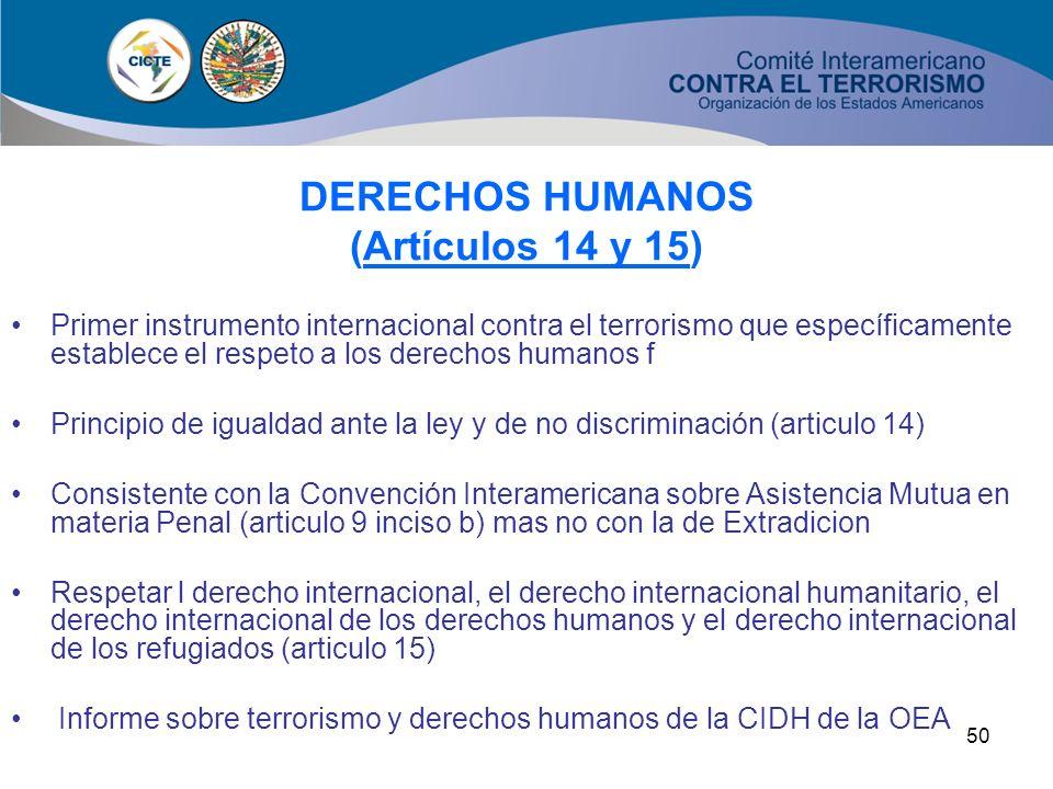 DERECHOS HUMANOS (Artículos 14 y 15)