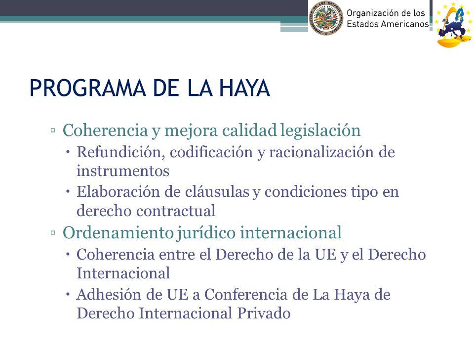 PROGRAMA DE LA HAYA Coherencia y mejora calidad legislación