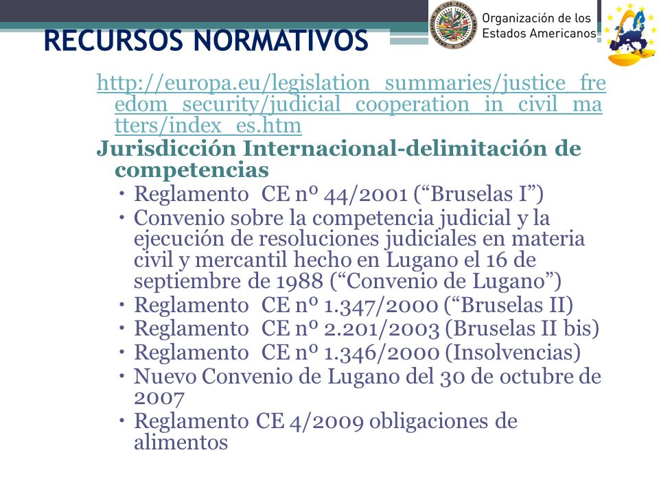 RECURSOS NORMATIVOS http://europa.eu/legislation_summaries/justice_fre edom_security/judicial_cooperation_in_civil_ma tters/index_es.htm.