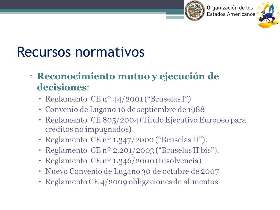 Recursos normativos Reconocimiento mutuo y ejecución de decisiones: