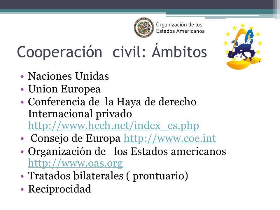 Cooperación civil: Ámbitos