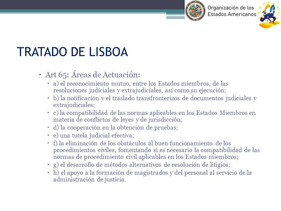 TRATADO DE LISBOA Art 65: Áreas de Actuación: