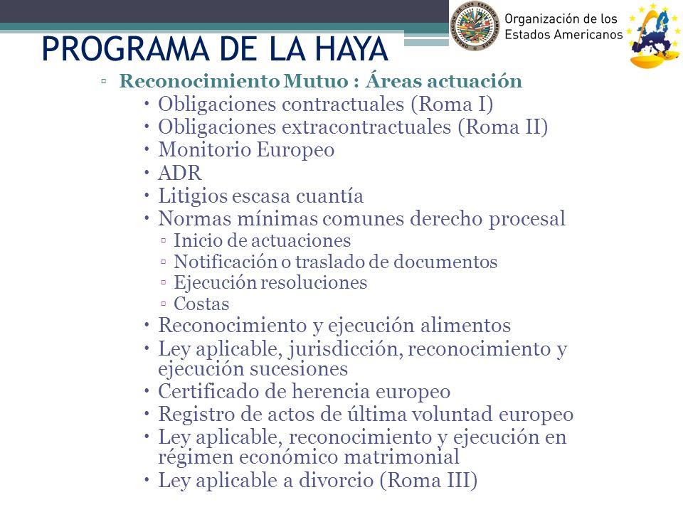 PROGRAMA DE LA HAYA Obligaciones contractuales (Roma I)