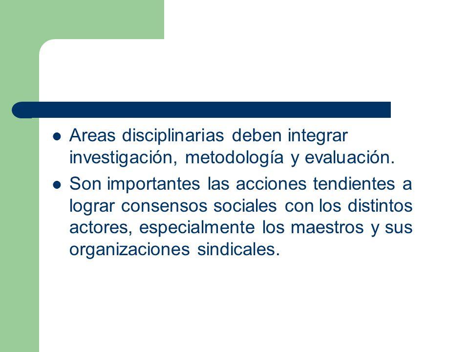 Areas disciplinarias deben integrar investigación, metodología y evaluación.