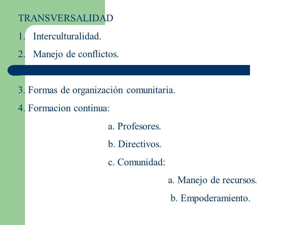 TRANSVERSALIDAD Interculturalidad. Manejo de conflictos. 3. Formas de organización comunitaria. 4. Formacion continua:
