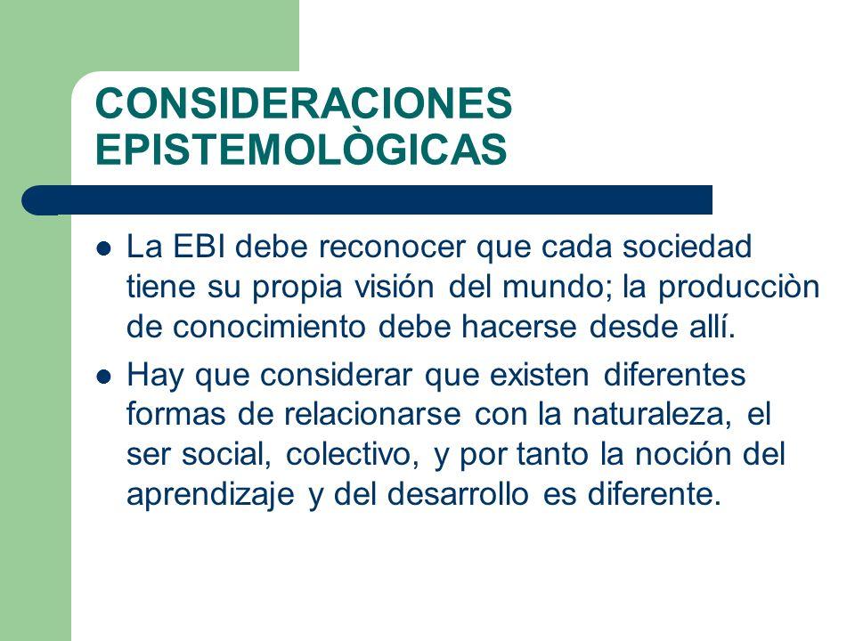 CONSIDERACIONES EPISTEMOLÒGICAS