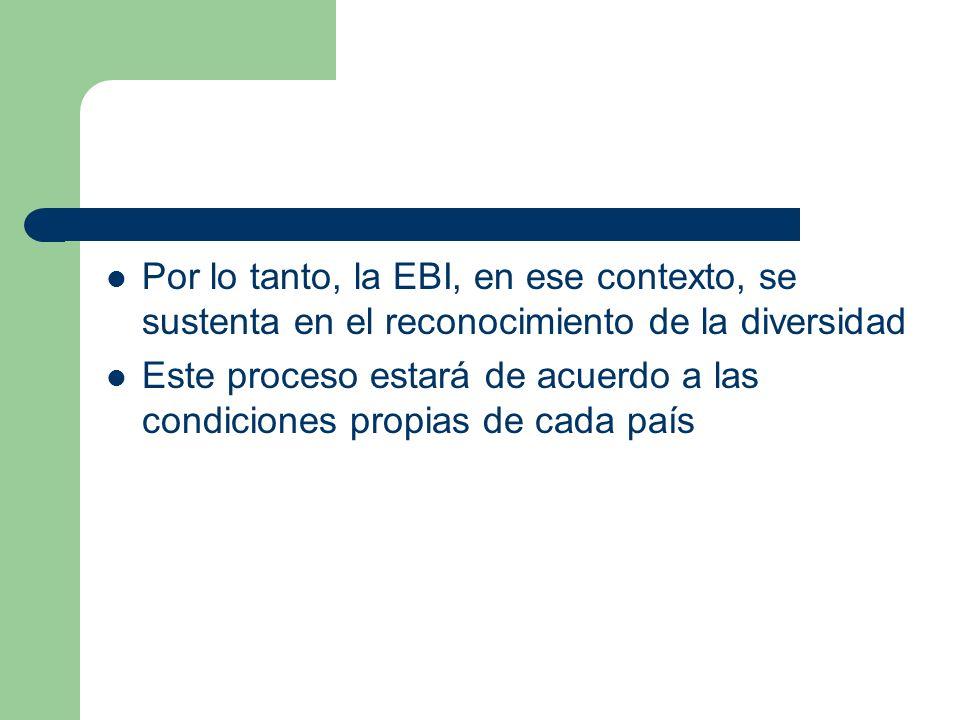 Por lo tanto, la EBI, en ese contexto, se sustenta en el reconocimiento de la diversidad