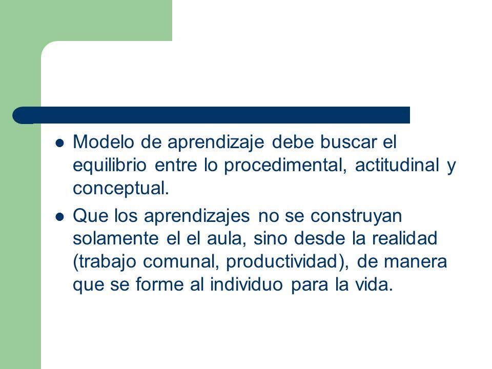 Modelo de aprendizaje debe buscar el equilibrio entre lo procedimental, actitudinal y conceptual.