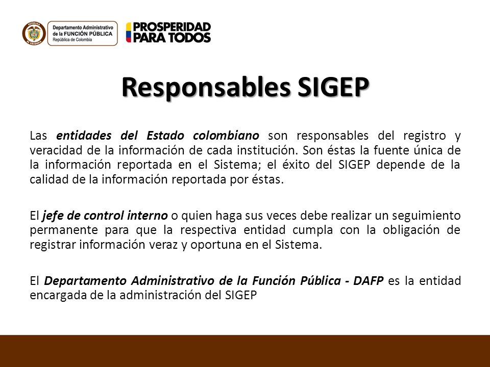 Responsables SIGEP