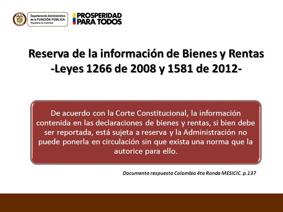 Reserva de la información de Bienes y Rentas -Leyes 1266 de 2008 y 1581 de 2012-