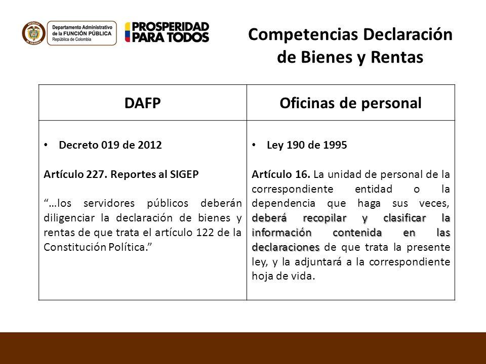 Competencias Declaración de Bienes y Rentas