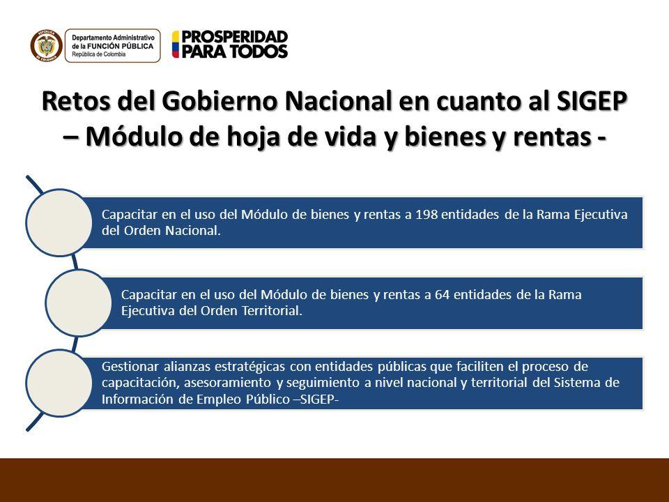 Retos del Gobierno Nacional en cuanto al SIGEP – Módulo de hoja de vida y bienes y rentas -