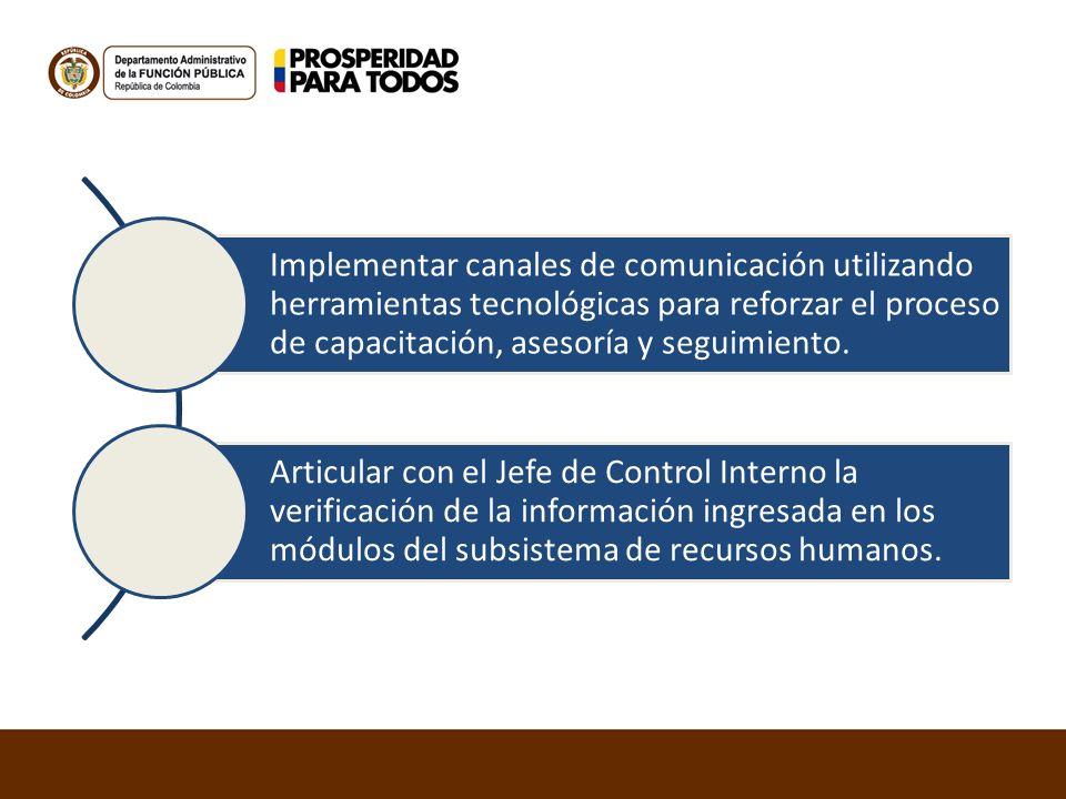 Implementar canales de comunicación utilizando herramientas tecnológicas para reforzar el proceso de capacitación, asesoría y seguimiento.
