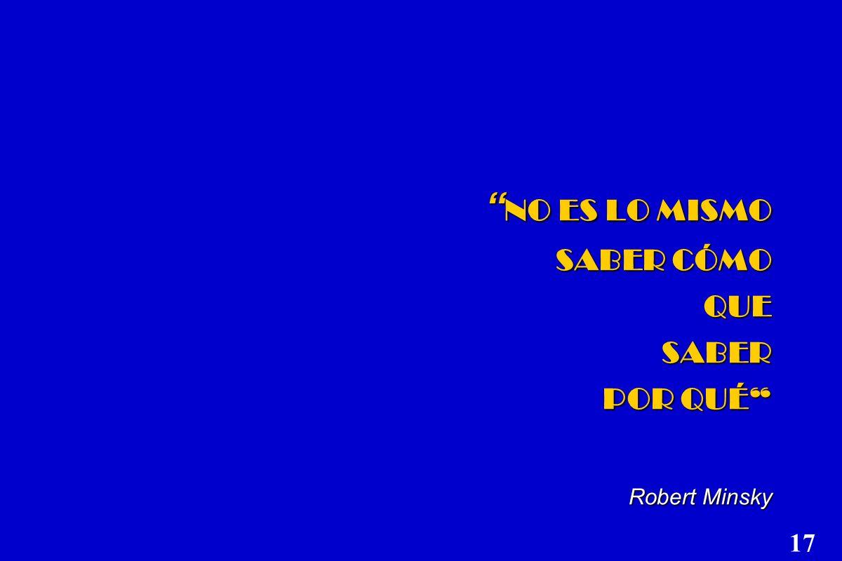 NO ES LO MISMO SABER CÓMO QUE SABER POR QUÉ Robert Minsky