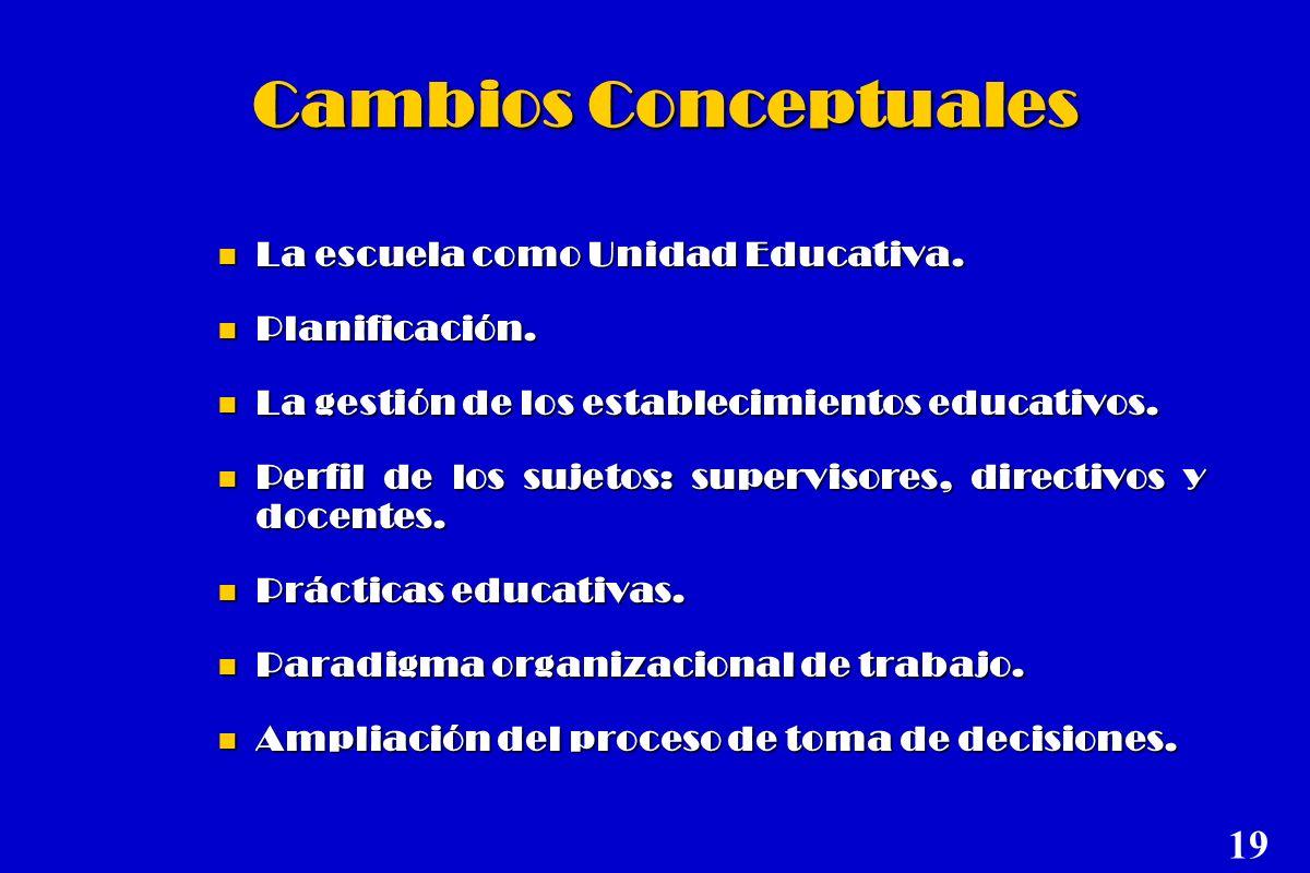 Cambios Conceptuales 19 La escuela como Unidad Educativa.