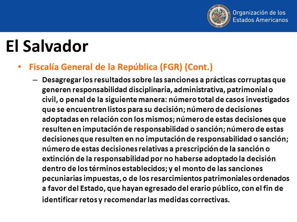 El Salvador Fiscalía General de la República (FGR) (Cont.)