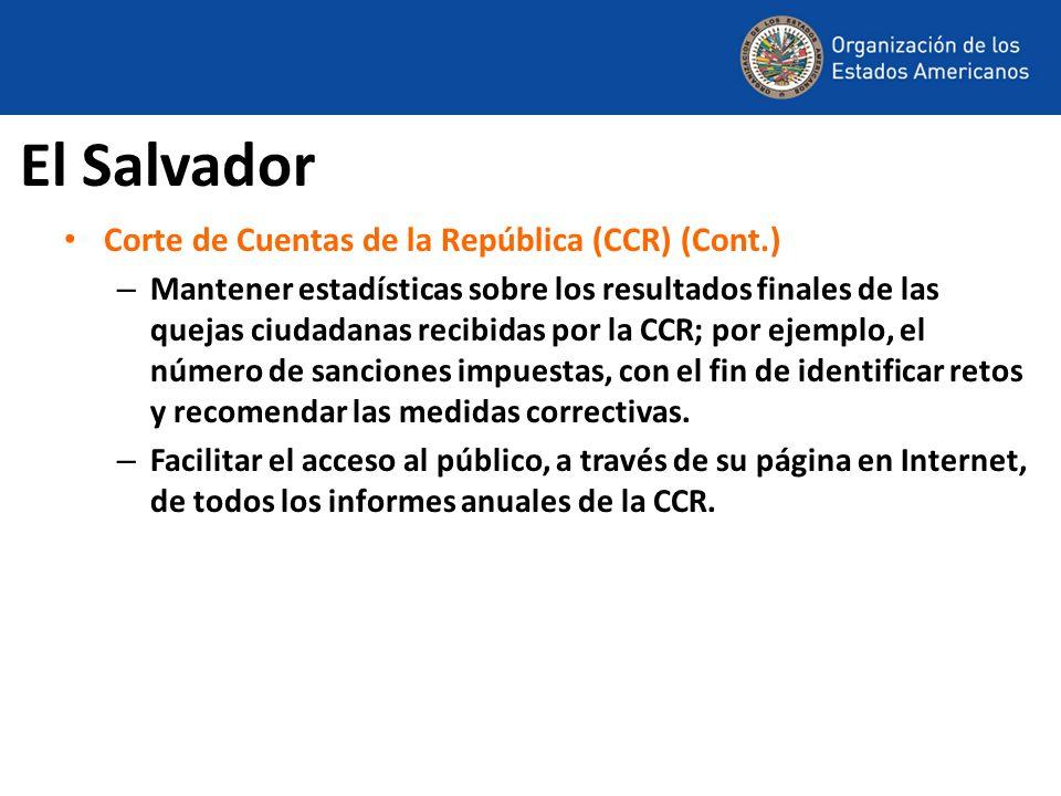 El Salvador Corte de Cuentas de la República (CCR) (Cont.)