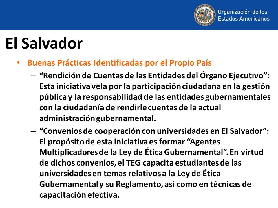 El Salvador Buenas Prácticas Identificadas por el Propio País