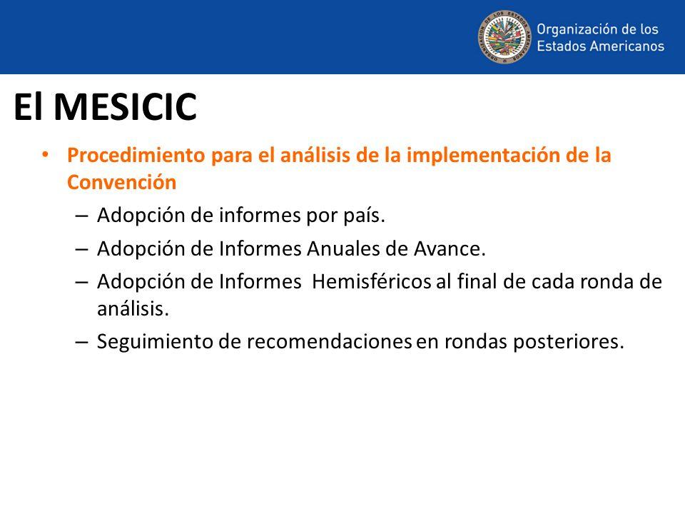 El MESICICProcedimiento para el análisis de la implementación de la Convención. Adopción de informes por país.