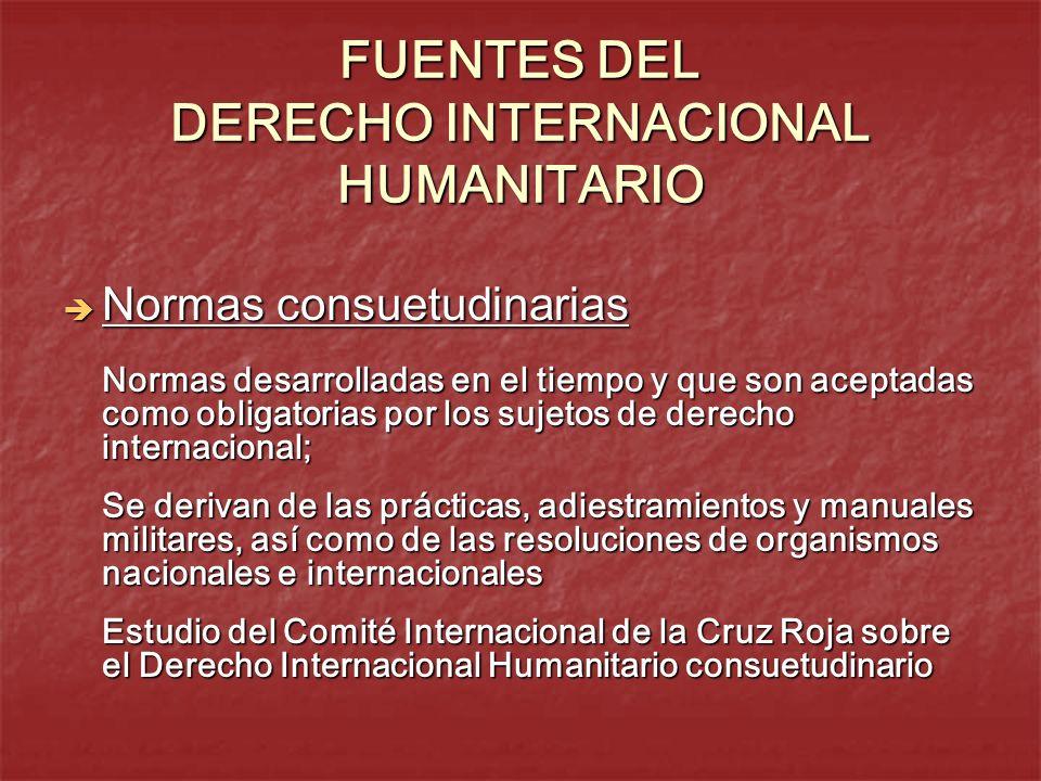 FUENTES DEL DERECHO INTERNACIONAL HUMANITARIO