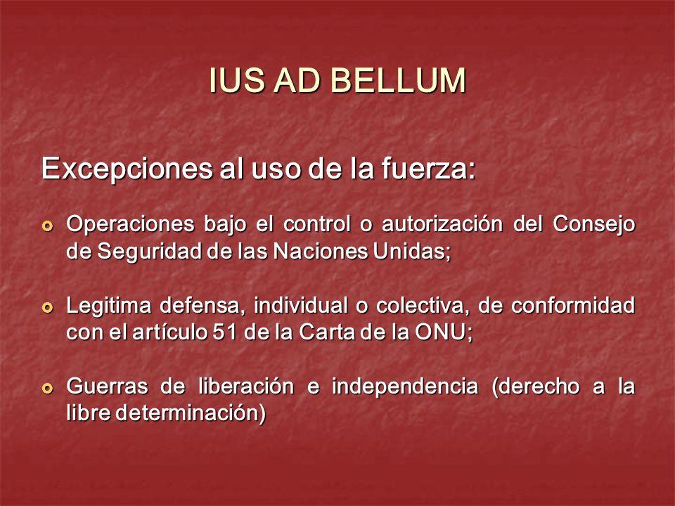 IUS AD BELLUM Excepciones al uso de la fuerza: