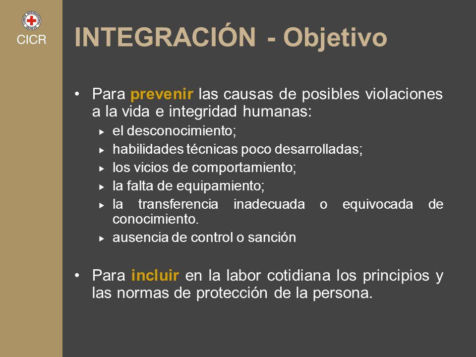 INTEGRACIÓN - Objetivo