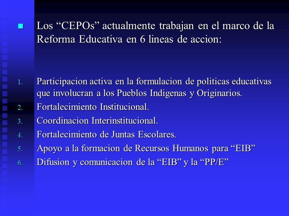 Los CEPOs actualmente trabajan en el marco de la Reforma Educativa en 6 lineas de accion:
