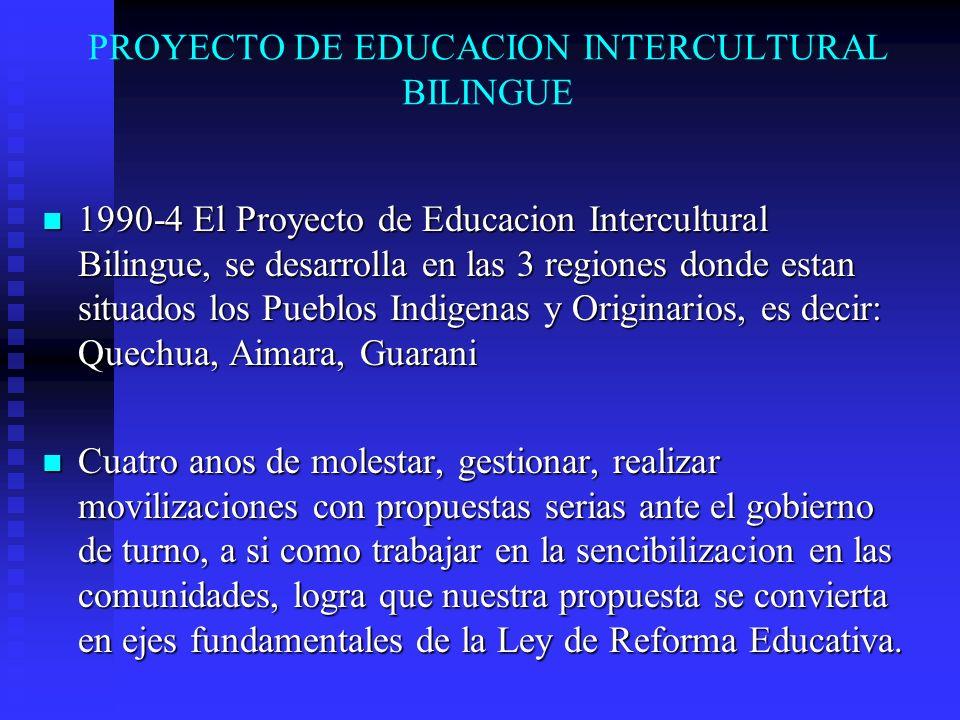 PROYECTO DE EDUCACION INTERCULTURAL BILINGUE