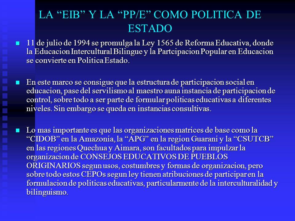 LA EIB Y LA PP/E COMO POLITICA DE ESTADO
