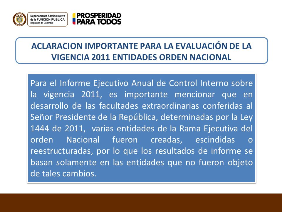 ACLARACION IMPORTANTE PARA LA EVALUACIÓN DE LA VIGENCIA 2011 ENTIDADES ORDEN NACIONAL