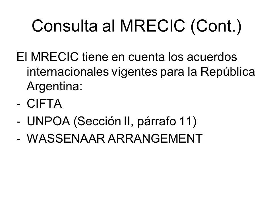 Consulta al MRECIC (Cont.)