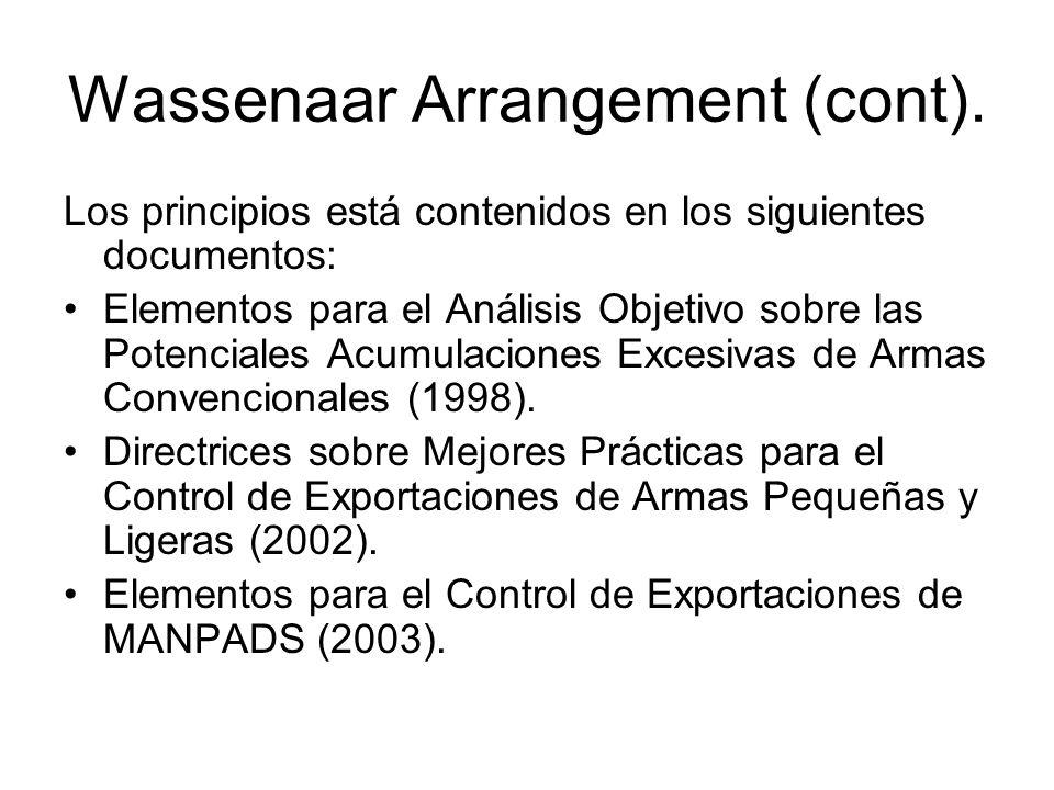 Wassenaar Arrangement (cont).