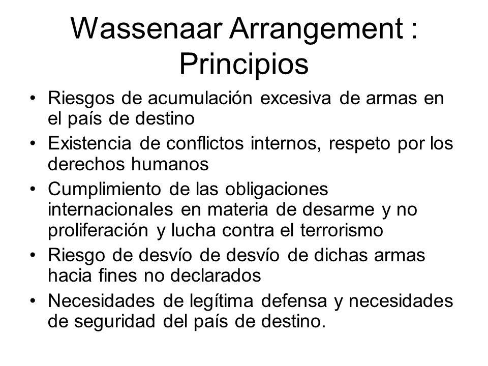 Wassenaar Arrangement : Principios