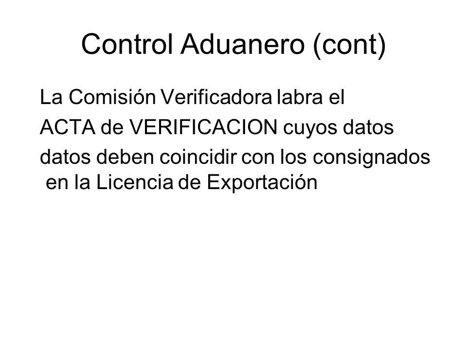 Control Aduanero (cont)
